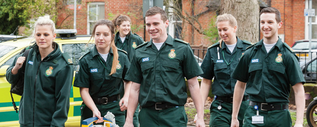 Paramedic science students in uniform