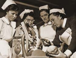 Black and white historic photograph of nurses at St George's Hospital
