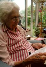 St Barts nurse Betty Lavack reading her letter