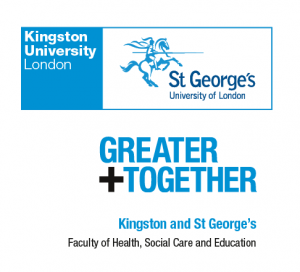 Kingston University, St.George's, Greater Together and Faculty of Health, Social Care and Education logos