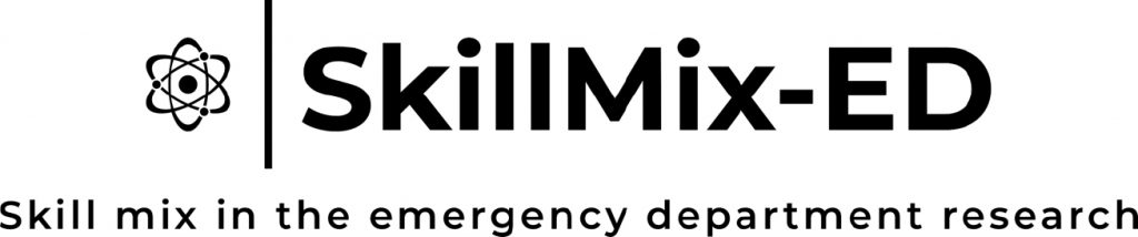SkillMix-Ed logo with text saying Skill mix in the emergency department research